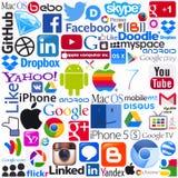 Firmenzeichen von populären Datenverarbeitungsmarken Stockbild