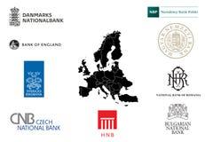 Firmenzeichen von Zentralbanken von EU Stockbild