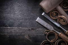 Firmer chisels planing chips wooden lump hammer Stock Image
