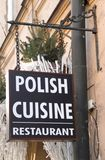 Firmi al ristorante di cucina polacca nel centesimo Fotografie Stock Libere da Diritti