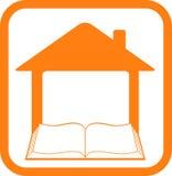Firmi dentro il blocco per grafici con la casa ed il libro Immagine Stock