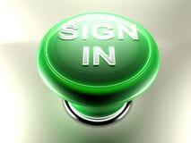 Firmi dentro il pulsante verde - la rappresentazione 3D Fotografie Stock