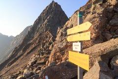 Firmi a Galtenscharte con testo tedesco nelle alpi di Hohe Tauern, Austria Fotografia Stock