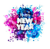 Firmi il buon anno nello stile di carta sulla macchia disegnata a mano multicolore Fotografie Stock