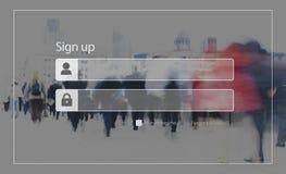 Firmi sul concetto di sicurezza della segretezza di parola d'ordine di registrazione Immagini Stock