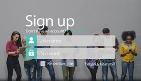 Firmi sul membro il conto di registrazione che dell'unire presenta il concetto Fotografia Stock