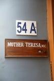 Firmi sull'entrata per generare la Camera, la residenza di Madre Teresa in Calcutta Fotografia Stock