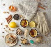 Firming tea with spices, lemon and ginger. Flu and cold prevention Royalty Free Stock Images