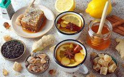 Firming tea with spices, lemon and ginger Stock Image