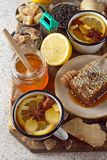 Firming tea with spices, lemon and ginger. Flu and cold prevention Stock Images