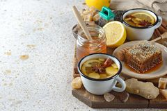 Firming tea with spices, lemon and ginger Stock Images