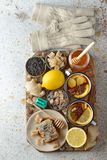 Firming tea with spices, lemon and ginger Royalty Free Stock Photos