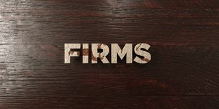 Firms - grungy wooden headline on Maple  - 3D rendered royalty free stock image. This image can be used for an online website banner ad or a print postcard Stock Photos
