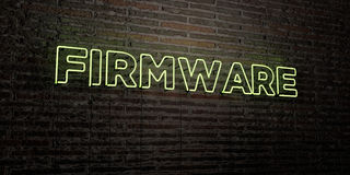 FIRMWARE -Realistic Neon Sign on Brick Wall background - 3D rendered royalty free stock image Royalty Free Stock Photos