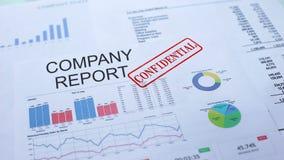 Firmy raportowy poufny, ręki cechowania foka na urzędowym dokumencie, statystyki zdjęcie wideo