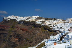 Firostefani и Imerovigli Santorini, острова Кикладов Греция Стоковое Изображение RF