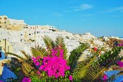 Firostefani bysikt Santorini Cyclades Grekland Arkivfoton