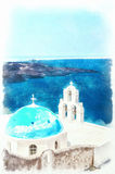 Firostefani church digital watercolor painting. One of the most famous churches on santorini situated in the village of firostefani Stock Images