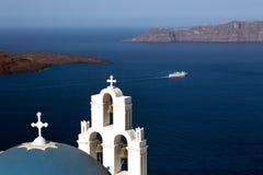 Firostefani Kirche, Santorini, Griechenland. Stockfotografie