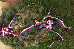 Firry wreath with Czech national ribbons. Royalty Free Stock Photography