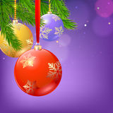 Firs branches, Christmas balls. New year composition with firs branches and Christmas balls on blurred background Royalty Free Stock Photo