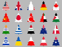 Firs with flags of different countries around the world. Collection of Christmas trees. Vector illustration Stock Photos
