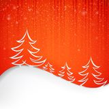 Firs over red. Background with white snowflakes. Vector illustration Royalty Free Stock Images