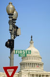 The first 100 days. Street sign of First Avenue, 100 in front of the United States Capitol, Washington, D.C., USA Stock Photos