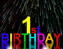 First Or 1st Birthday Celebrated With Fireworks. Display Royalty Free Stock Photo