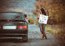 First acquaintance of a young couple Stock Images
