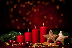First advent. Christmas decoration  for the first advent one candle burning Royalty Free Stock Photo