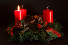First Advent. Picture of a Bavarian Advent Wreath with one burning candle Royalty Free Stock Photography