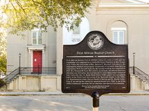First African Baptist Church historic marker Royalty Free Stock Photography
