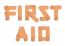 First aid. Text using  plasters Stock Photo