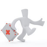 First aid. Running doctor keep in hand first aid box Stock Photo