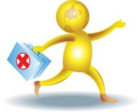 The first aid. Nice isolated illustrated cartoon image of first aid concept Stock Photography
