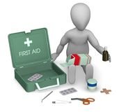 First aid. 3d render of cartoon character with first aid kit Stock Image