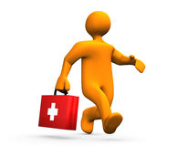 First Aid. 3d illustration looks a humanoid doctor with suitcase in the hand Stock Images
