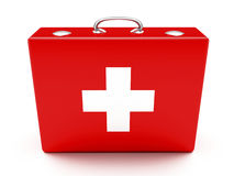 First aid. Kit. Red suitcase isolated on white background Stock Photos