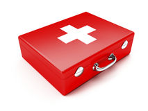 First aid. Kit. Red suitcase isolated on white background Royalty Free Stock Photos