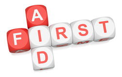First Aid. Crossword on white background 3d render Stock Photo