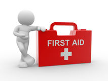 First aid. 3d people - human character and first aid. 3d render illustration Stock Image