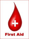 First Aid. Drop of blood with white cross Royalty Free Stock Photography