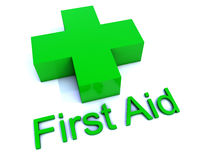 First Aid. Green First Aid Cross sign Stock Photos