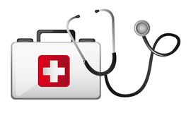 First aid. Box with stethoscope isolated over white background vector Stock Images