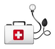 First aid. Box with sphygmomanometer isolated vector illustration Royalty Free Stock Image