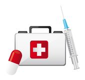 First aid. Box with injection and pill isolated vector illustration Royalty Free Stock Images