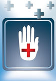 First Aid. Illustration for hospital, hand  and there equipment as poster Stock Image