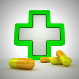 First aid. Medical cross and pills - first aid concept Royalty Free Stock Images