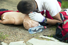 First aid. Training with dummy Royalty Free Stock Photography